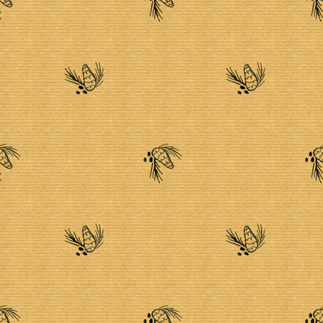 Pinecone on brown paper fabric by crumpetsandcrabsticks on Spoonflower - custom fabric