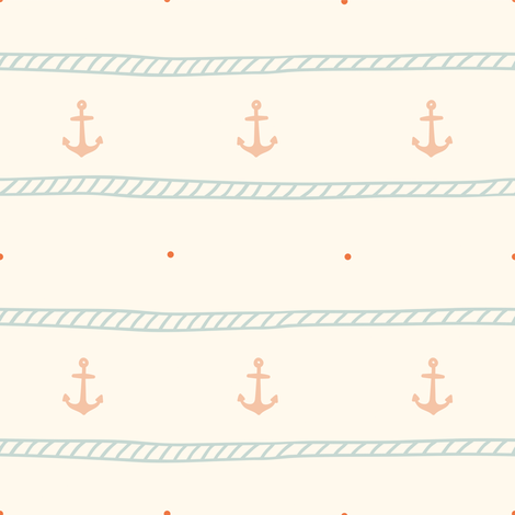 Rope and anchor pattern fabric by kondratya on Spoonflower - custom fabric