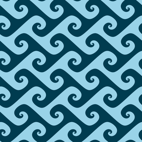 blue waves fabric by weavingmajor on Spoonflower - custom fabric