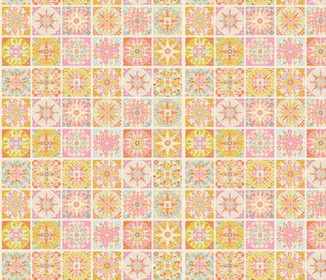 spring_sunshine_cheater_quilt_beige_S fabric by nadja_petremand on Spoonflower - custom fabric