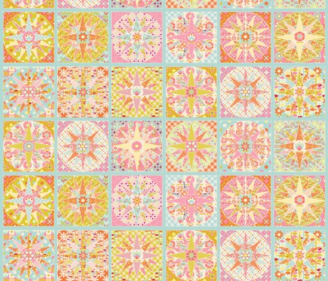 spring_sunshine_cheater_quilt_bleu_M fabric by nadja_petremand on Spoonflower - custom fabric