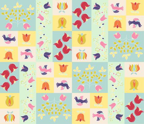 Spring Folk Quilt fabric by woodledoo on Spoonflower - custom fabric