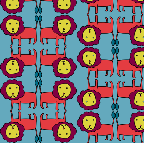 grid lion in bright fabric by ecologies on Spoonflower - custom fabric