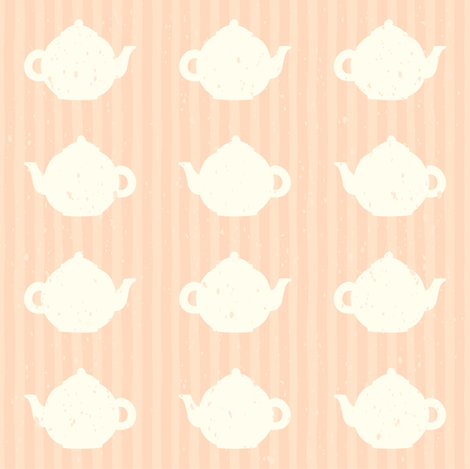 Pink teapot and stripes pattern fabric by kondratya on Spoonflower - custom fabric