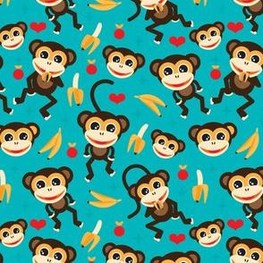 Cute baby boy nursery monkey and banana