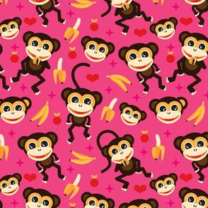 Cute baby girl nursery monkey and banana