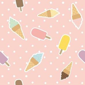 Ice cream polka dot sweet pattern