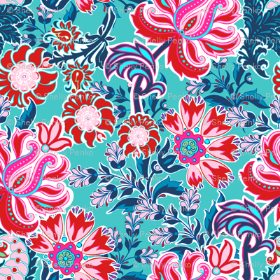 Bohemian Floral Paisley in Turquoise, Pink and Red