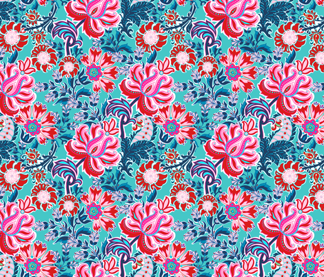 Bohemian Floral Paisley in Turquoise, Pink and Red fabric by shellypenko on Spoonflower - custom fabric