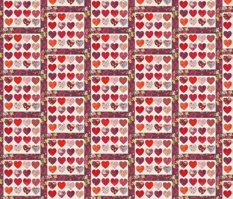 Hearts Quilt Top fabric by jamiesquilting on Spoonflower - custom fabric