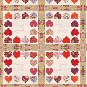 Heartful Of love Hearts Quilt Top
