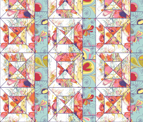 Spring Flowers Cheater Quilt Block fabric by wiccked on Spoonflower - custom fabric