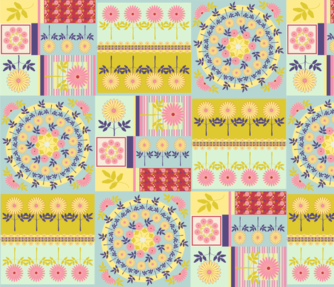 spring_daisy_cheater_square fabric by kgarvey on Spoonflower - custom fabric
