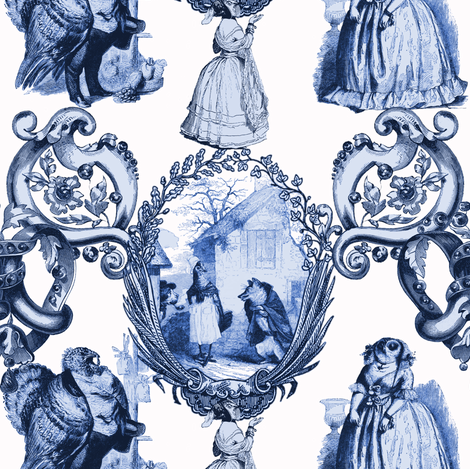 Those Animals Think They're People Toile ~ Blue and White fabric by peacoquettedesigns on Spoonflower - custom fabric