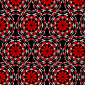 Red pattern on black background