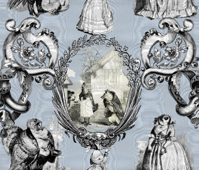 Those Animals Think They're People Toile ~ Moire ~ Versailles Fog
