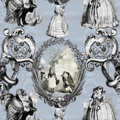 Those Animals Think They're People Toile ~ Moire ~ Versailles Fog fabric by peacoquettedesigns on Spoonflower - custom fabric