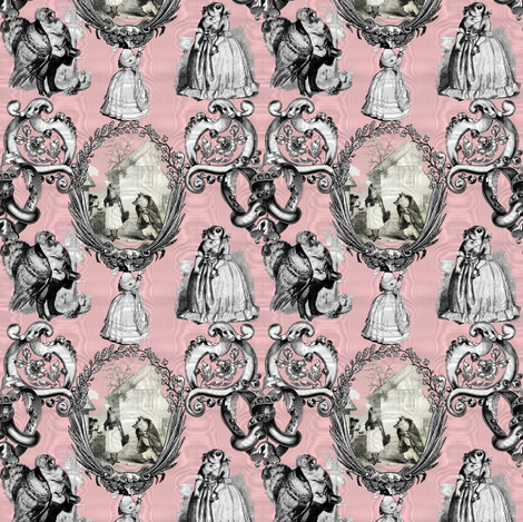 Those Animals Think They're People Toile ~ Moire ~ Dauphine  fabric by peacoquettedesigns on Spoonflower - custom fabric