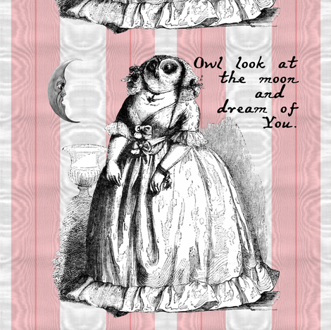 That Owl Thinks She's A Poetess ~ Cut and Sew Pillow fabric by peacoquettedesigns on Spoonflower - custom fabric