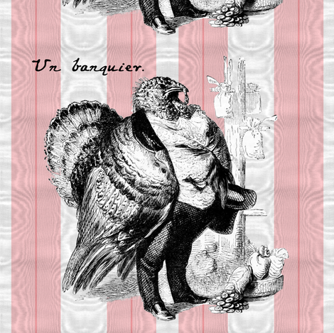 That Turkey Thinks He's Un Banquier ~ Cut and Sew Pillow fabric by peacoquettedesigns on Spoonflower - custom fabric