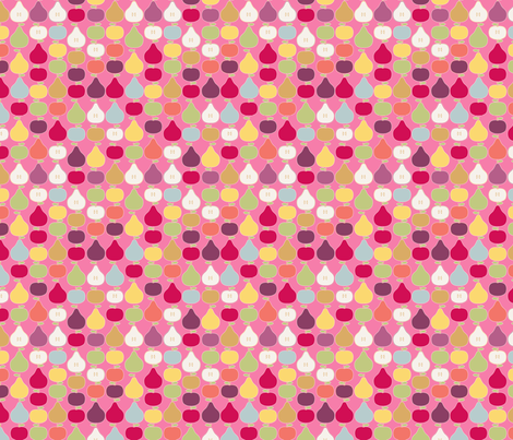 pomme_poire_fond_rose_S fabric by nadja_petremand on Spoonflower - custom fabric