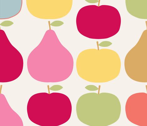 pomme_poire_fond_beige_XL fabric by nadja_petremand on Spoonflower - custom fabric