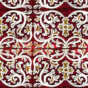 Byzantine mosaic  border - mirrored  - red