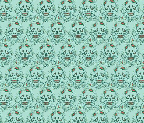 riley skull aqua fabric by skellychic on Spoonflower - custom fabric