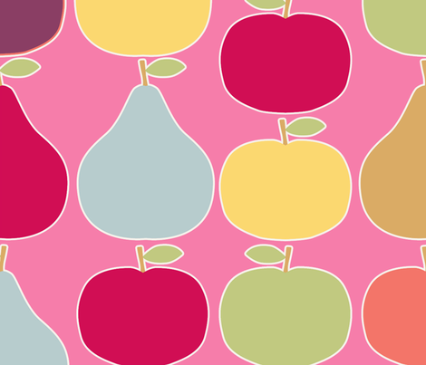 pomme_poire_fond_rose_XL fabric by nadja_petremand on Spoonflower - custom fabric