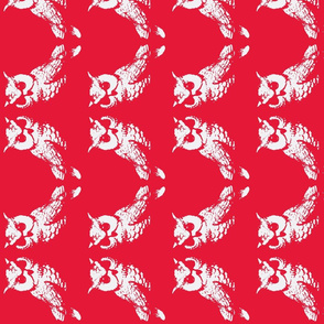 2 owls red screen print