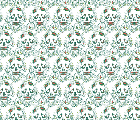 riley skull white 2 fabric by skellychic on Spoonflower - custom fabric