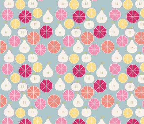 pomme_poire_orange_bleu_M fabric by nadja_petremand on Spoonflower - custom fabric
