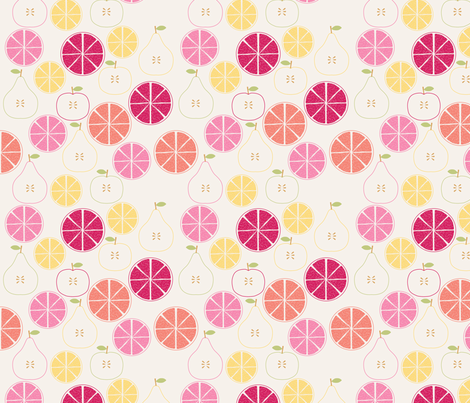 pomme_poire_orange_beige_S fabric by nadja_petremand on Spoonflower - custom fabric