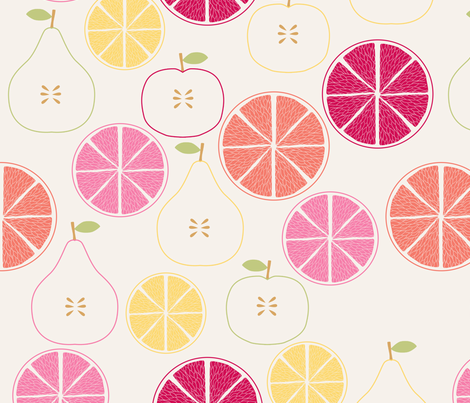 pomme_poire_orange_beige_M fabric by nadja_petremand on Spoonflower - custom fabric