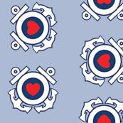 Coast Guard Emblem and Heart - Light Blue