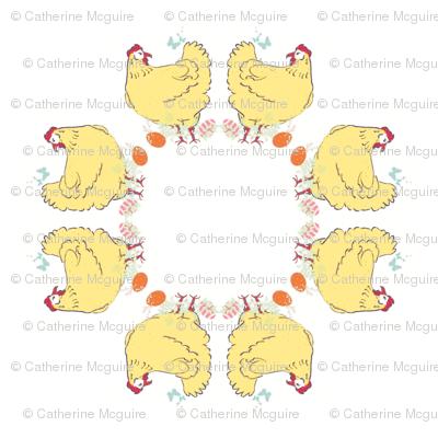 Mandala fluffy hen and eggs