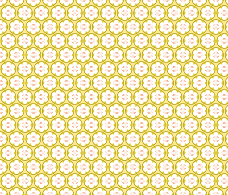 Spring Blooms Gold Dotty Flowers fabric by robinpickens on Spoonflower - custom fabric