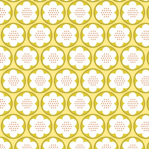 Spring Blooms Gold Dotty Flowers_g