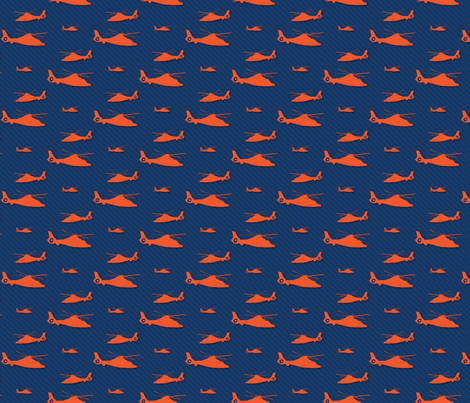 Orange Helicopter with Subtle Navy Stripes fabric by coastiecollections on Spoonflower - custom fabric