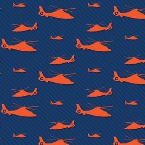 Orange Helicopter with Subtle Navy Stripes