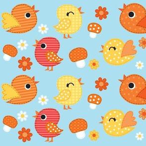 Springtime Birdies & Mushrooms- Blue