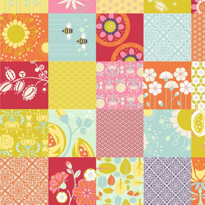 "Spring Blooms Cheater Patchwork_4""Sq"