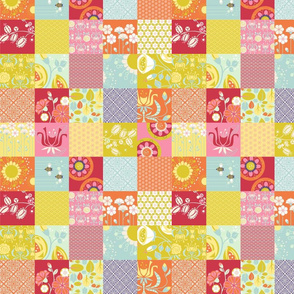 "Spring Blooms Cheater Patchwork_2""Sq"