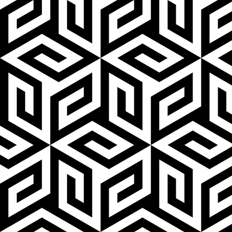 02721920 : greek cube 3 : black and white fabric by sef on Spoonflower - custom fabric