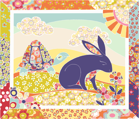 Spring Hare Cheater Quilt ( Fat Quarter) fabric by ceanirminger on Spoonflower - custom fabric