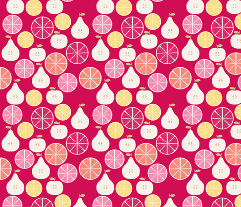 pomme_poire_orange_rouge_S fabric by nadja_petremand on Spoonflower - custom fabric