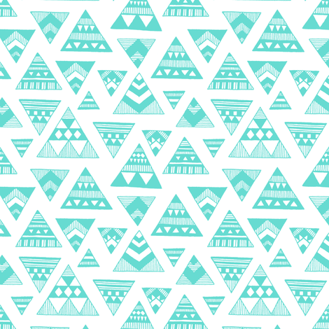 Aztec Triangles - Aqua  fabric by kimsa on Spoonflower - custom fabric