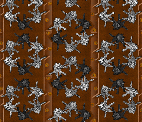 steampunk wolf pack panel stripes fabric by glimmericks on Spoonflower - custom fabric