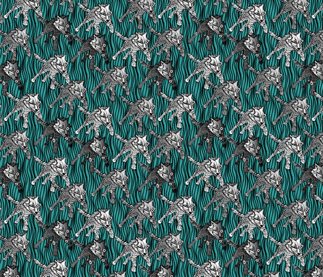 steampunk wolfpack cool fabric by glimmericks on Spoonflower - custom fabric