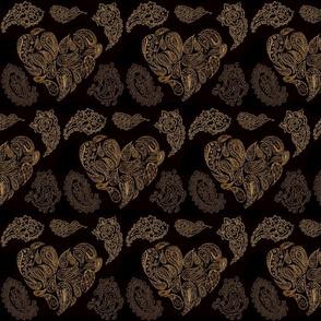 SEPIATONE PAISLEY HEARTS